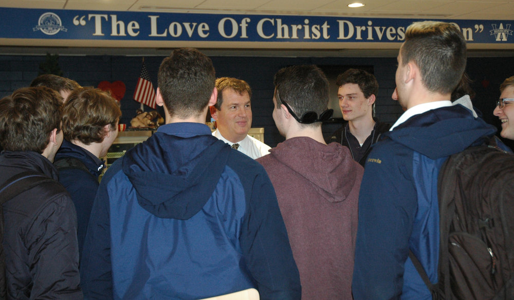 Meeting the Team: Matt Marks '85, the new Head Coach of the Boys Lacrosse team, meets with team members for the first time.
