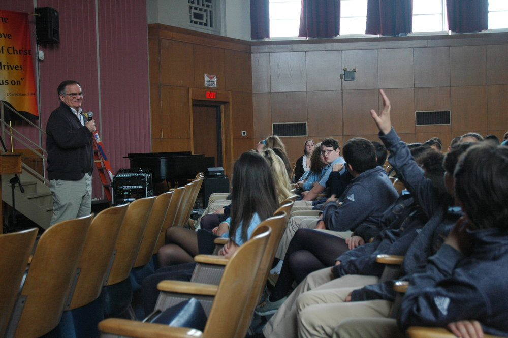 Joe Finn, Executive Director of the Mass. Homeless and Shelter Alliance (MHSA), and former Director of Father Bill's homeless shelter in Quincy, took questions from students about the realities of homelessness.