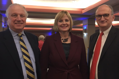 Kim Noltemy '86 with Boston Symphony Orchestra Chief Executive Officer Mark Volpe, right, and Archbishop Williams High School alumnus and Board of Trustees member Stephen Hassell '67 at her farewell party from her position as BSO and Boston Pops Chief Operating Officer. Noltemy is now the CEO of the Dallas Symphony Orchestra.