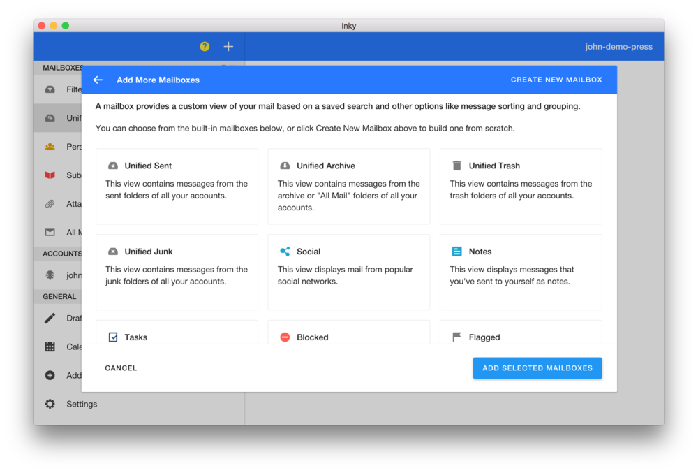 Choose from curated mailboxes to customize your email workflow.