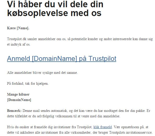Trustpilot invitation version 1