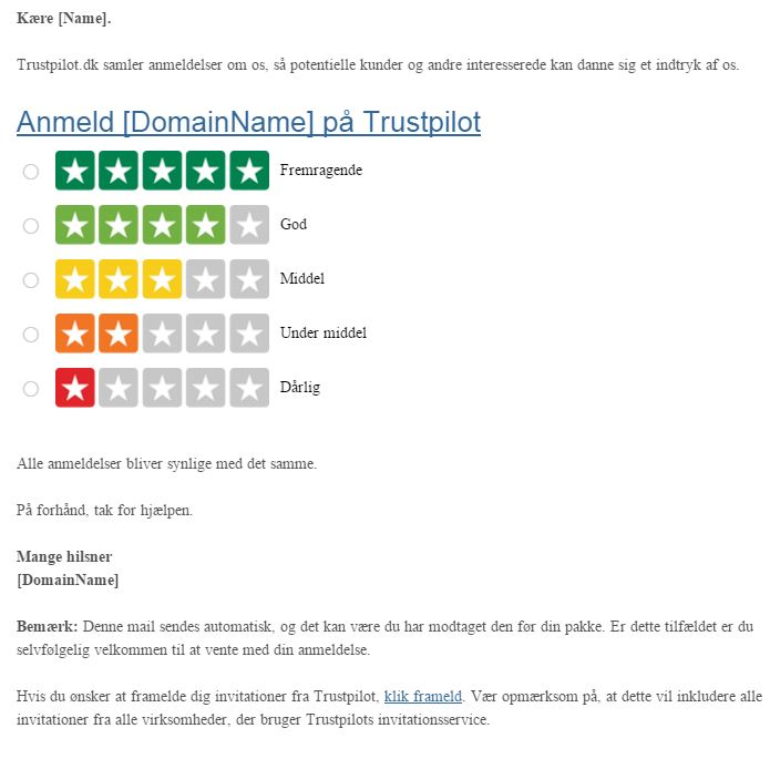Trustpilot invitation version 4