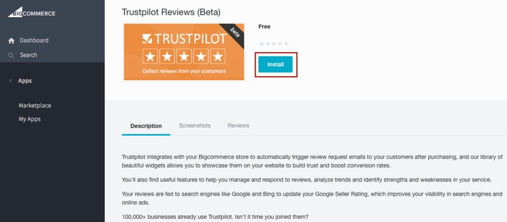 installer trustpilot bigcommerce app