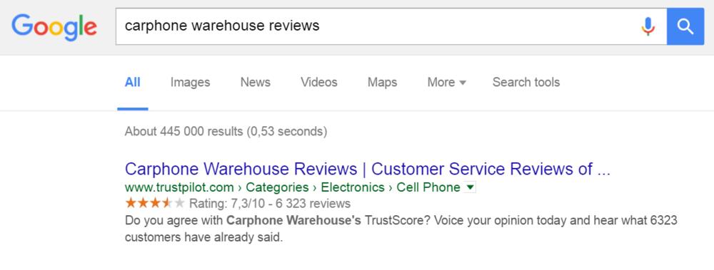Billede af carphone warehouse søgeresultat anmeldelser