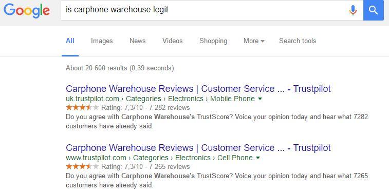 Billede af carphone warehouse søgeresultat 'legit'