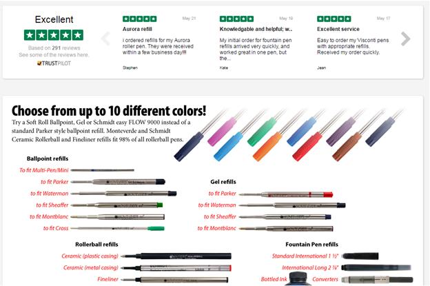 Colorado Pen bruger en Trustpilot-widget til at vise deres anmeldelser på deres hjemmeside.