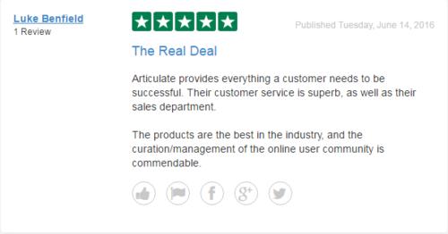 En bruger på Trustpilot har skrevet en god og indholdsrig anmeldelse af softwarefirmaet Articulate.
