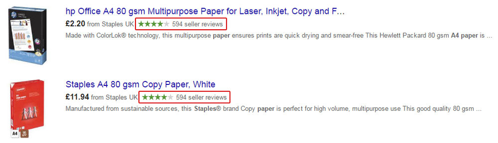 Google Shopping, annonce, stjerner