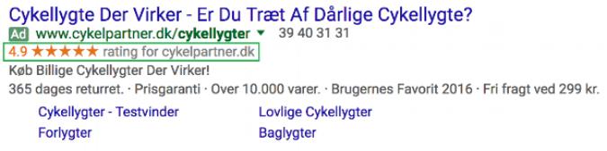 Ved at indsamle anmeldelser fra Trustpilot har Cykelpartner kvalificeret sig til Google Seller Ratings, som kan ses ovenfor i deres betalingsannonce (PPC).