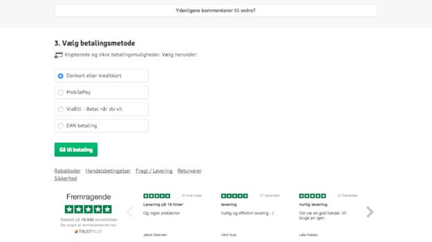 Cykelpartner bruger en Trustpilot-widget med deres anmeldelser på deres indkøbsside for at få flere kunder til at foretage et køb.