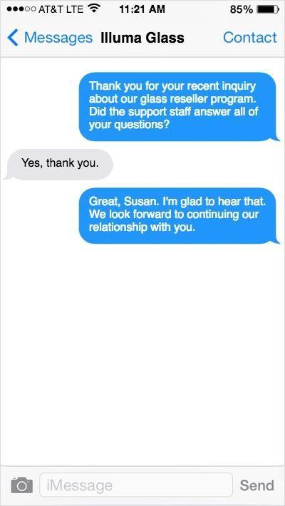 Skærmbillede, kundeanmeldelser, Illuma Glass, SMS