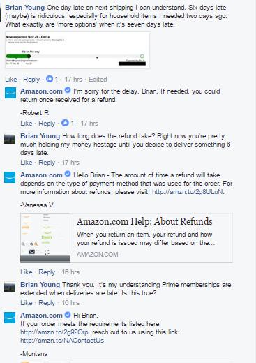 Skærmbillede, kundeanmeldelser, Facebook, Amazon