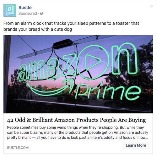 Bustle, Facebook-annonce