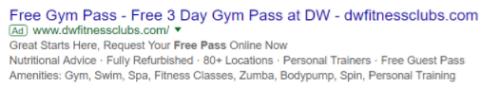 Eksempel på en annonce, der nævner et gratis dagspas