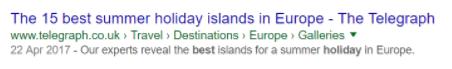 Eksempel på et 'catchy' title-tag i organiske søgeresultater