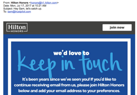 Eksempel på en personlig e-mail