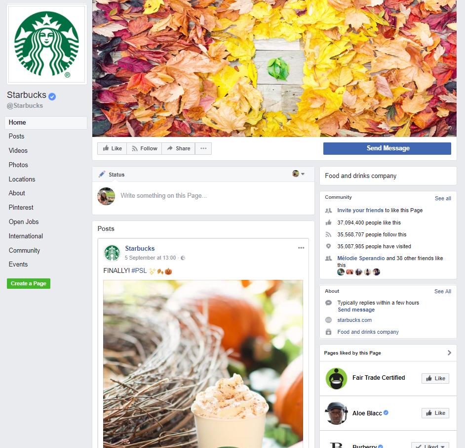 I 2016 blev    Starbucks kåret som #1 topbrand på Facebook