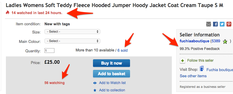 Denne eBay-side er fuld af social proof-indikatorer