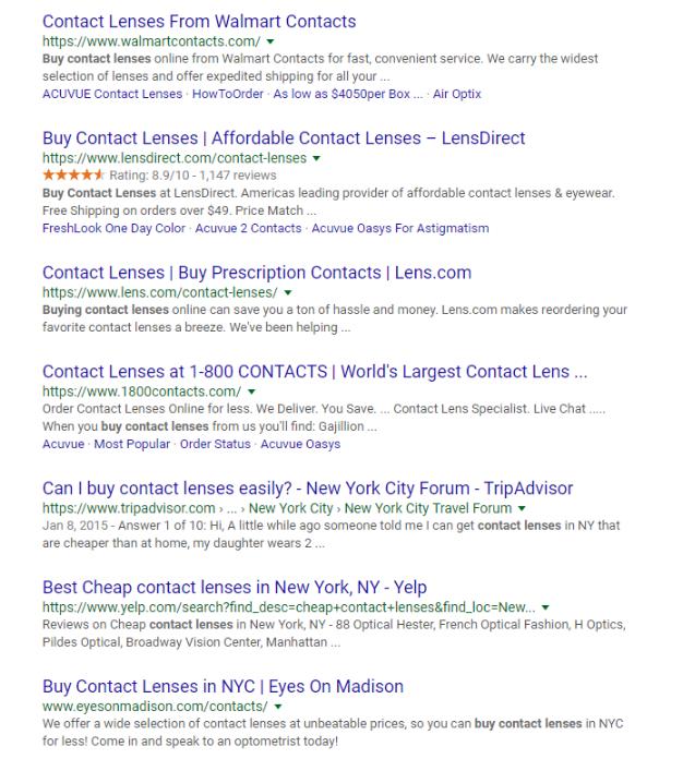 Rich Snippets, søgeresultater