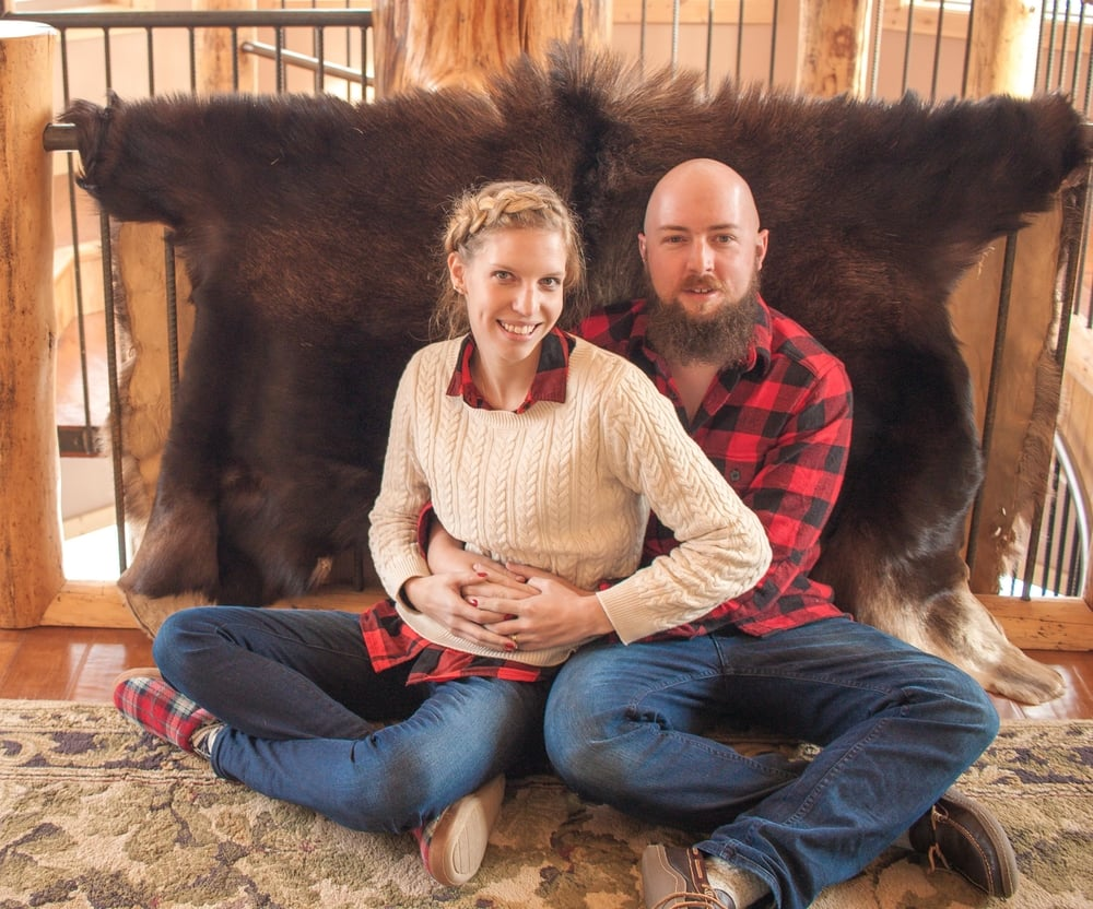 I love our Christmas Day picture with our matching shirts, flannel-lined slippers, and friendly bearskin in the background. ;)
