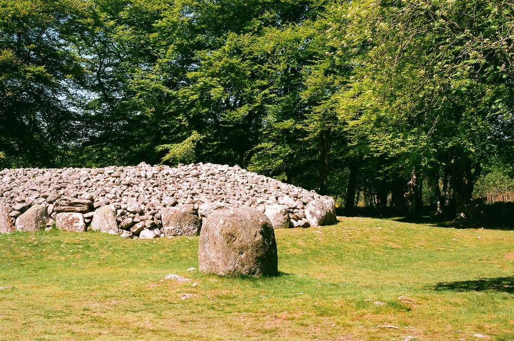 This was the largest of the cairns, the closest of the three to the car park. 35mm film.