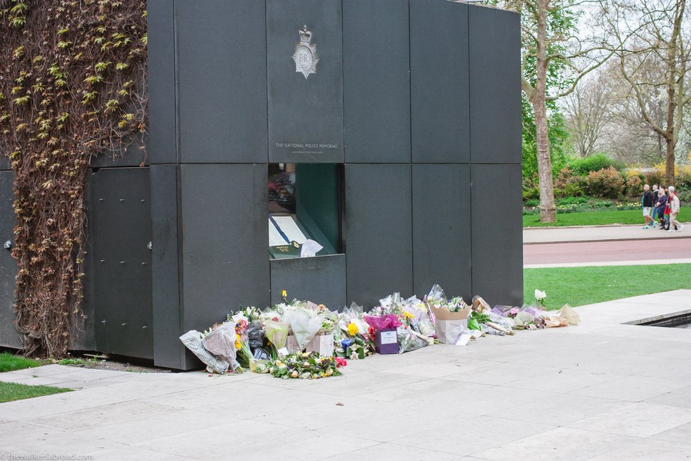 National Police Memorial. The book inside had the names inscribed of police officers who had lost their lives in the line of duty. The notes with the bouquets were so touching.