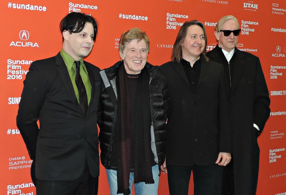 Jack White, Robert Redford, director Bernard MacMahon, and T Bone Burnett at the 2016 Sundance Film Festival. White, Redford and Burnett serve as executive producers on American Epic.