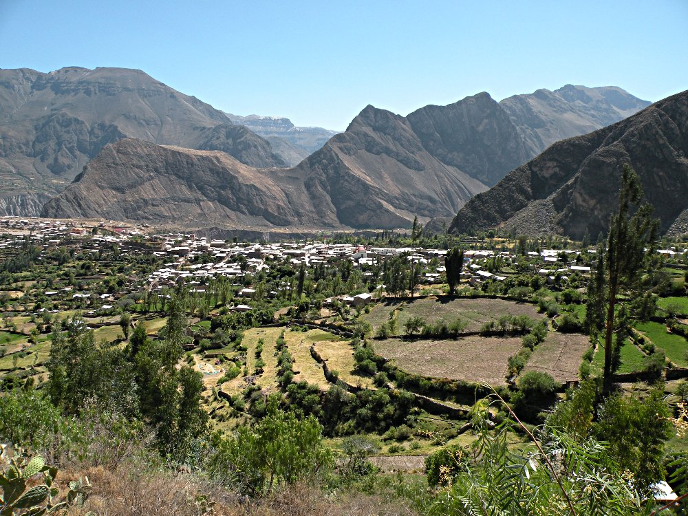 "The village of Cotahuasi is 8,700 feel in elevation, and is only 60 miles from the Pacific Ocean (as the ""crow flies"")."
