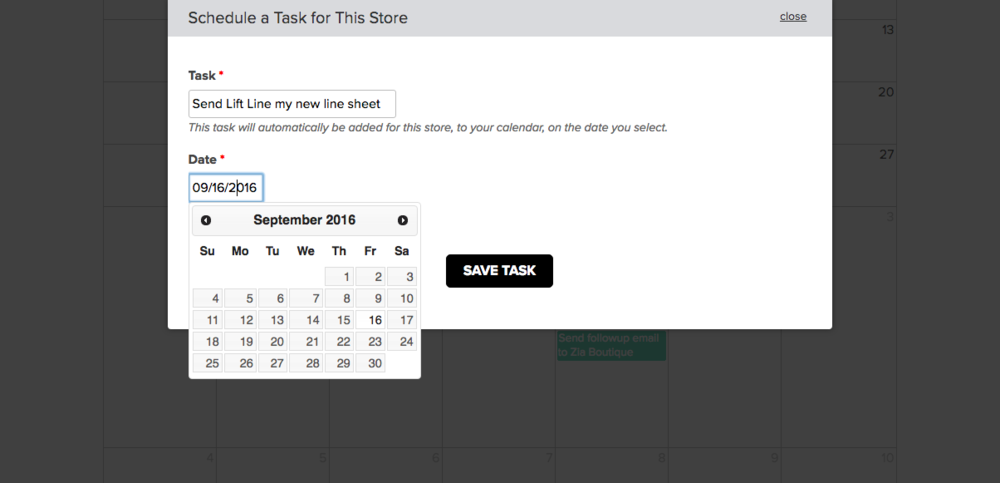 "Set it and forget it. If you're a Wholesale In a Box customer, you can click on any store and add special tasks for that store, as seen above. These will be in addition to the ""regular"" tasks already set up for that store."