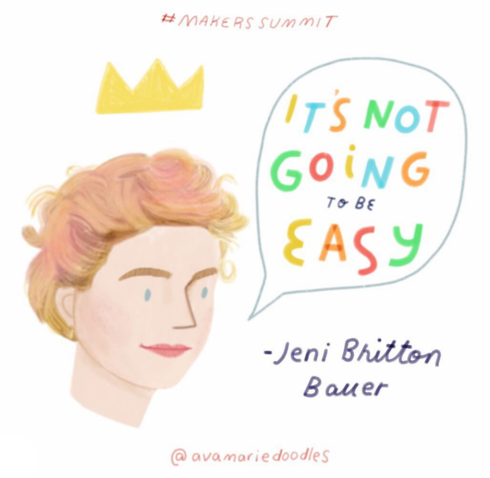 "Love this illustration by  @avamariedoodles  who also runs  @aviatepress . Super-loved Jeni's followup comment on Ava's post: ""It's not going to be easy ..... but that's what makes you: an Olympian, Frodo, Annie Oakley, Luke Skywalker... you've gotta challenge your inner champion. And also, that illustration is my favorite likeness of me ever. Thank you."