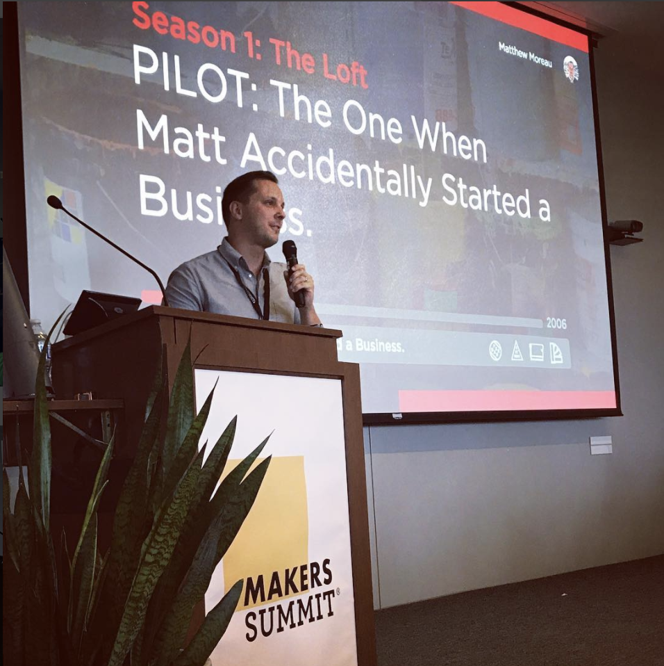 Matt Moreau ( @thelandmarkproject ) in his awesome talk, which took the form of a Netflix Binge. Photo by  @makersco_