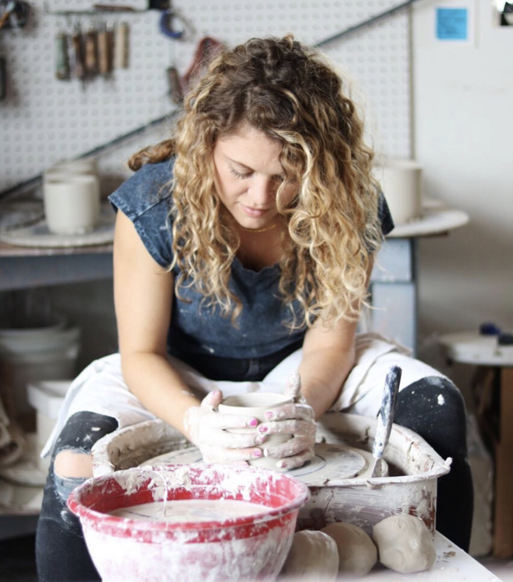 Kara at the wheel. Via  @karacotta_ceramics