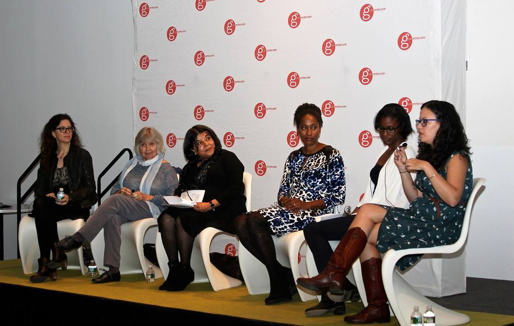 Panelists Farrin Jacobs (Little, Brown), Robin Morgan, , Beena Kamlani (Penguin Random House), Bridgett M. Davis (novelist, Into the Go-Slow), Taysha Clark (GWN Alumna), and Rachel Fershleiser (Tumblr).