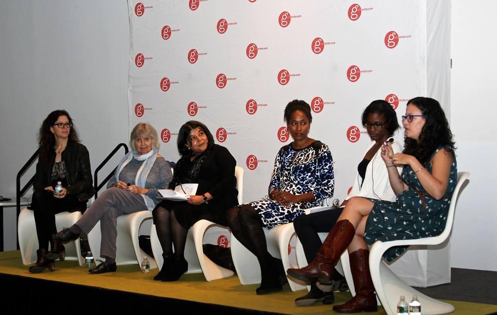 Panelists Farrin Jacobs (Little, Brown),Robin Morgan, , Beena Kamlani (Penguin Random House), Bridgett M. Davis (novelist, Into the Go-Slow), Taysha Clark (GWN Alumna), and Rachel Fershleiser (Tumblr).