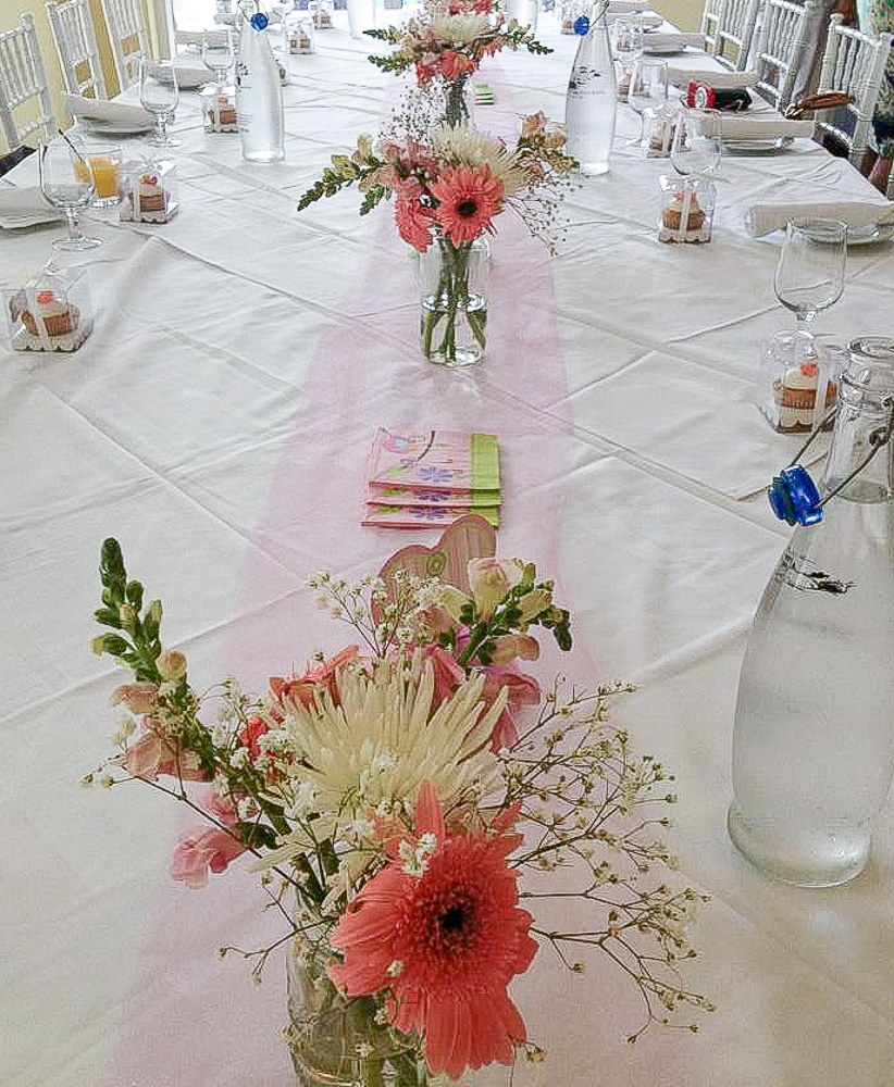 Girly tablescape designed for external venue shower.