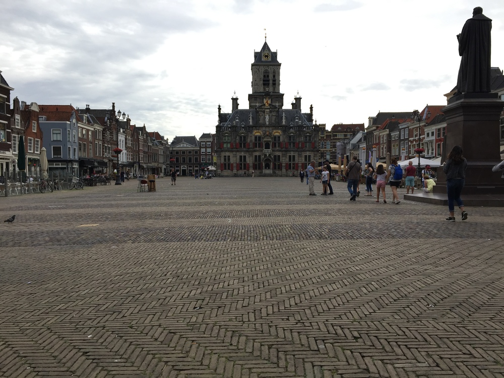 Delft's old  Stadhuis  (town hall), which sits opposite the majestive  Nieuwe Kerk  (New Church) on the town's massive market.