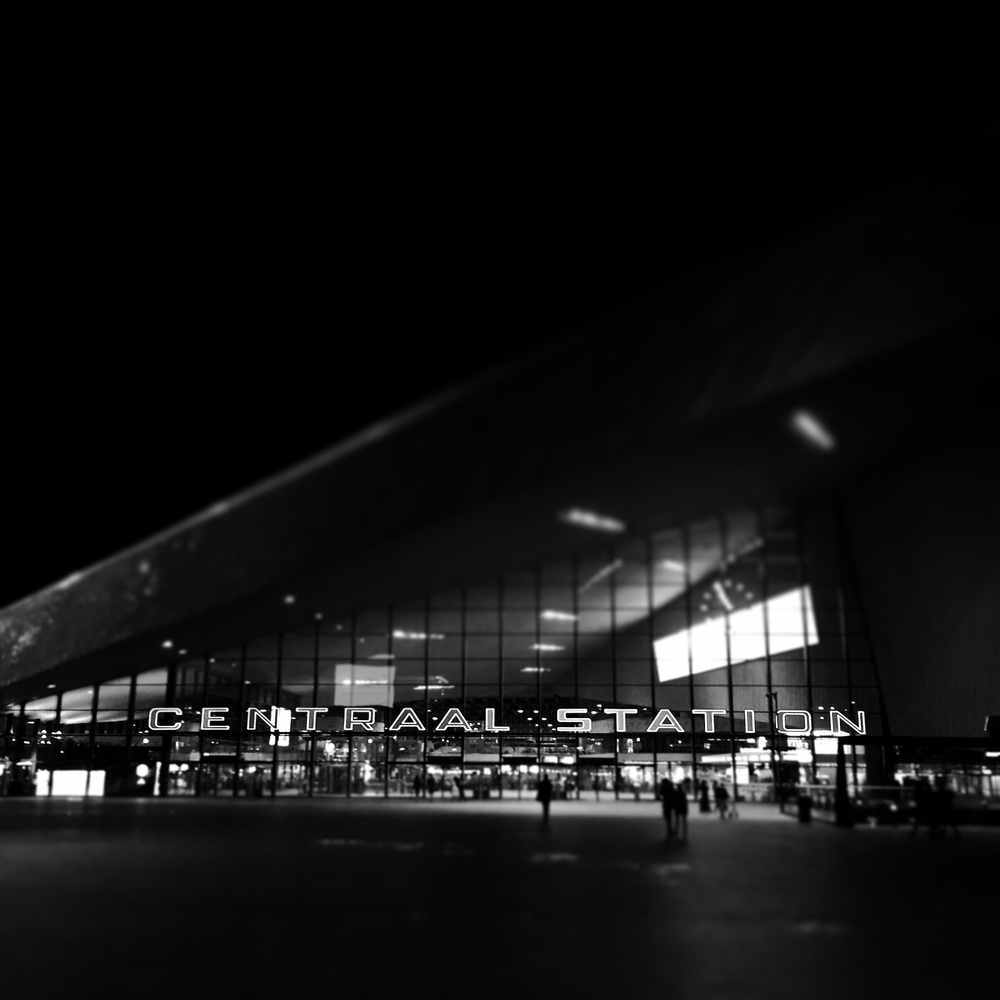 Centraal Station, Rotterdam, by night.