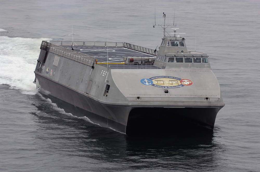 SAN DIEGO, Calif.  - The U.S. Navy's Littoral Surface Craft-Experimental (X-Craft), developed by the Office of Naval Research and christened Sea Fighter (FSF-1), arrives at her new homeport of San Diego, Calif. This high-speed aluminum catamaran will test a variety of technologies that will allow the Navy to operate in littoral waters. With a base crew of 26, Sea Fighter will also provide a platform for the evaluation of minimum manning concepts on future naval surface ships.