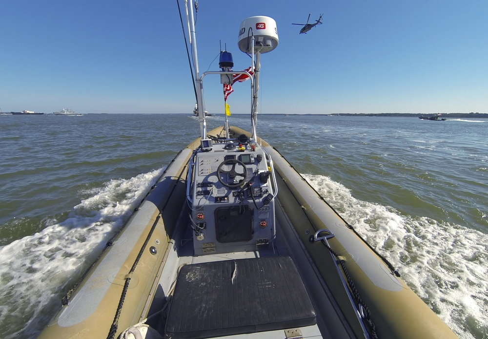 NEWPORT NEWS, Va.  - An unmanned seven meter rigid hulled inflatable boat (RHIB) operates autonomously during an Office of Naval Research (ONR)-sponsored demonstration of swarmboat technology held on the James River in Newport News, Va.