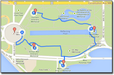 Map shows the route I took to capture memorial photos in Washington, D.C.