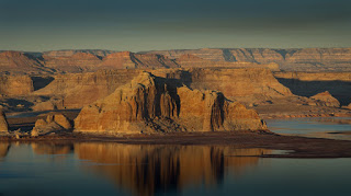 Lake Powell in Page, Arizona, at sunset.