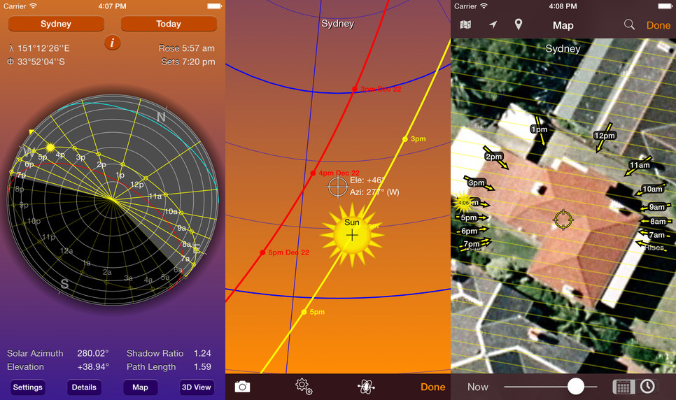 Three screen shots of the Sun Seeker app available for the iPad or iPhone.