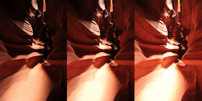 Three shot bracket inside Upper Antelope Canyon.