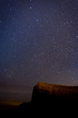 Star photography over Monument Valley, Ariz.