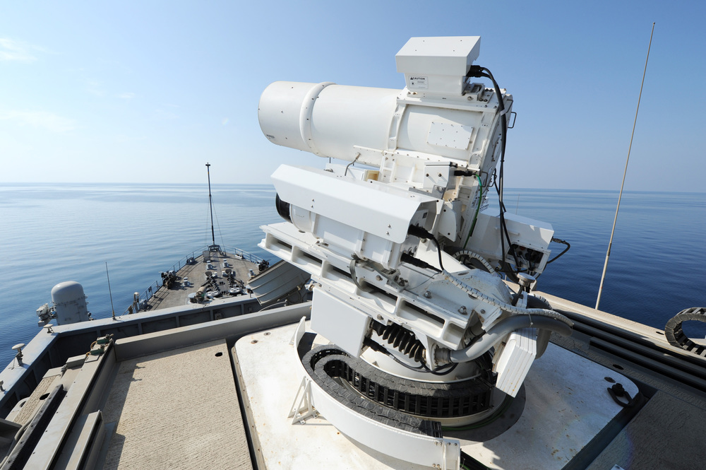 ARABIAN GULF   - The Office of Naval Research (ONR)-sponsored Laser Weapon System (LaWS) performs an operational demonstration aboard the Afloat Forward Staging Base (Interim) USS Ponce (ASB(I) 15) while deployed to the Arabian Gulf.