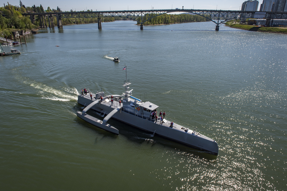 PORTLAND, Oregon - Sea Hunter, an entirely new class of unmanned ocean-going vessel gets underway on the Williammette River following a christening ceremony in Portland, Oregon. Part the of the Defense Advanced Research Projects Agency (DARPA)'s Anti-Submarine Warfare Continuous Trail Unmanned Vessel (ACTUV) program, in conjunction with the Office of Naval Research (ONR), is working to fully test the capabilities of the vessel and several innovative payloads, with the goal of transitioning the technology to Navy operational use once fully proven.