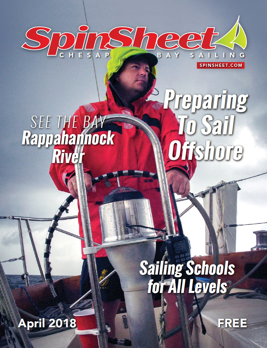 April 2018 edition of SpinSheet magazine featuring my photograph of Mark at the helm of  Valient.
