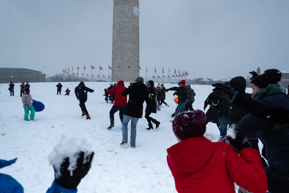 Before I left the house in the morning, I heard about a planned one p.m. snowball fight that would take place at the Washington Monument. That was the only planning I had for the day. Fujifilm X-Pro2, 18mm, 1/5800 @ f2.8, ISO 400.