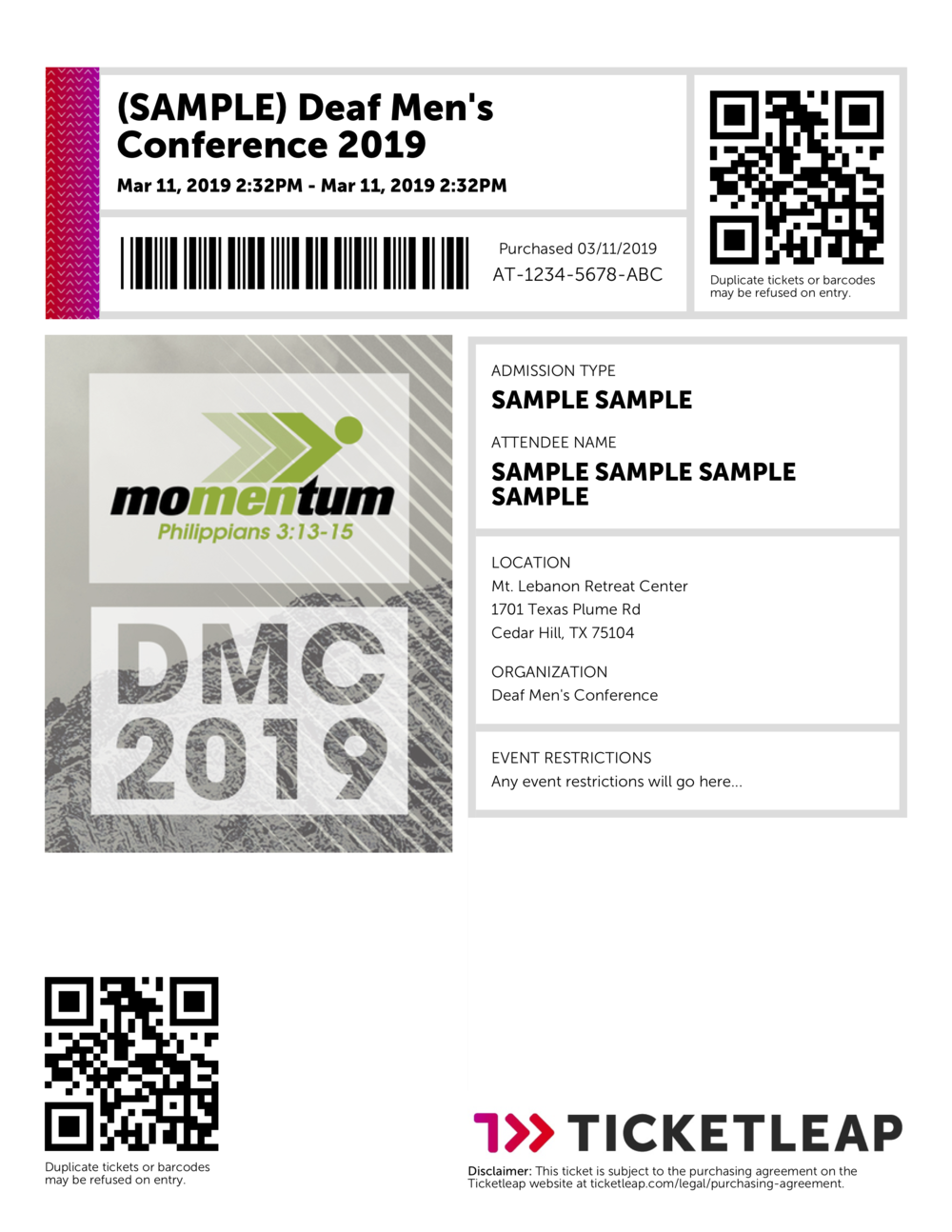 Sample Ticket