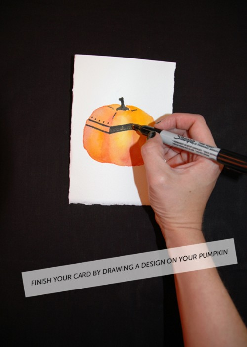 DIY halloween watercolor card via courtney khail